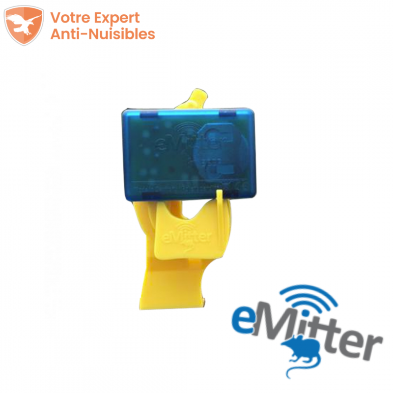 """L'avertisseur sonore bleu """"eMitter"""" est mis en place sur son adaptateur jaune """"Banana"""