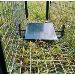 Le passage du rat sur la plaque déclenche la fermeture des 2 entrées du piège.