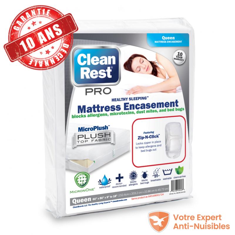 La housse de lit anti punaises Clean Rest s'intègre parfaitement sur un matelas 2 places aux dimensions 140 cm x 200 cm
